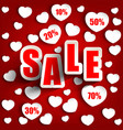 valentines day with sale background vector image vector image