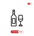 wine bottle with wine glass icon vector image vector image