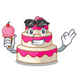 with ice cream wedding cake above wooden cartoon vector image
