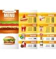 design menu fast food vector image