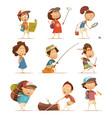 camping kids icons set vector image