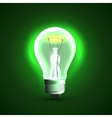 Realistic light bulb On green background vector image