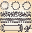 set of ornate page decor elements borders banner vector image