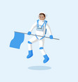 astronaut with flag floating flat vector image