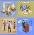 auction isometric concept set vector image