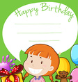Border design with girl on birthday vector image