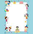 border template with happy kids at party vector image vector image