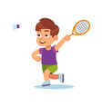 boy plays badminton happy preschool athlete with vector image