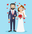 bride and groom stand under the handles on a blue vector image vector image