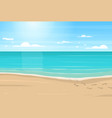 cartoon sandy beach sea and blue sky vector image vector image