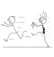 cartoon scared man running away from zombie vector image vector image
