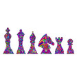 colorful set with king queen bishop knight vector image