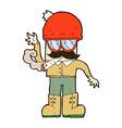 comic cartoon man smoking pot vector image vector image