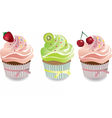 Cupcake with fruits toppings and cream vector image vector image