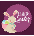 cute bunny with basket on his back with eggs happy vector image vector image