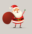 cute santa claus with sack smile and wave vector image