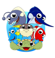 cute sea animal set vector image