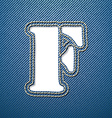 Denim jeans letter F vector image