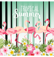 Flamingo Bird Background Retro Pattern Tropical vector image vector image