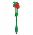 Fork and strawberry background vector image vector image