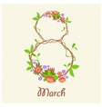 Greeting card with March 8 vector image