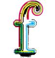 Grunge colorful font Letter f vector image vector image