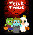 Halloween background with children vector image
