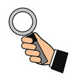 hand holding magnifying glass social media vector image vector image
