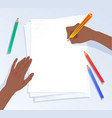 hands writing with pencils on a4 paper vector image