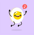 kawaii food cartoon egg happy funny asian vector image