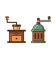 manual retro coffee grinder line art icons vector image