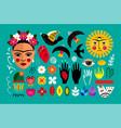 mexico folk set vector image vector image