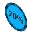 minus 70 percent sale icon isometric style vector image vector image