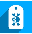 Morgue Mark Flat Square Icon with Long Shadow vector image vector image