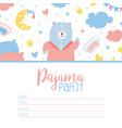 pajama party invitation card template childish vector image vector image