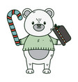 polar bear hat and candy cane celebration merry vector image vector image