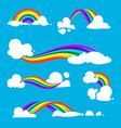 rainbow and clouds in flat style vector image vector image