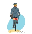 Retro postman on bike rides with sending gift vector image vector image
