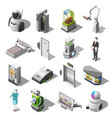 robotized hotels isometric icons vector image vector image