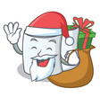santa with gift tissue character cartoon style vector image vector image
