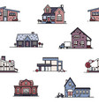 seamless pattern with suburban houses on white vector image vector image