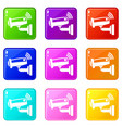 security camera icons set 9 color collection vector image vector image
