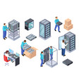 server room isometric information technology vector image vector image