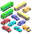 set isometric urban transportation cars vector image