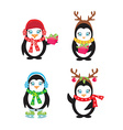 Set of cute penguins vector image vector image