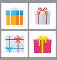 set of gift boxes in decorative wrapping vector image vector image