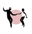 silhouettes of young couple dancing vector image vector image