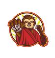 sloth fighter self defense circle mascot vector image