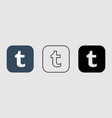 social media icon set for tumblr in different vector image