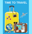 time to travel with bag and world travel object vector image vector image
